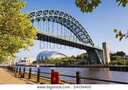 Tyne bridge framed with leaves