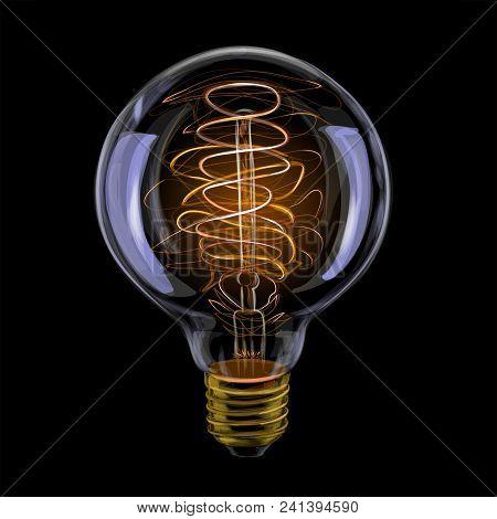 Edison Realistic Antique Glowing Light Bulb. Vector Illustration Of Paints