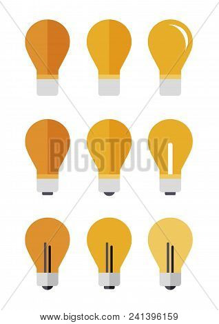 Icons Set Of Nine Lamp In A Flat Style On A White Background.