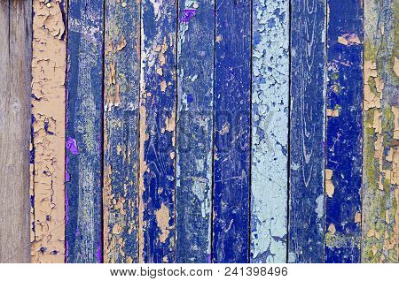 Peeling Paint Texture. Textured Wooden Background With Weathered Painted Multicolor Textured Surface