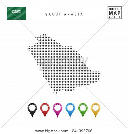 Dotted Map Of Saudi Arabia. Simple Silhouette Of Saudi Arabia. The National Flag Of Saudi Arabia. Se