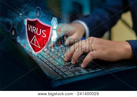 Press Enter Button On The Keyboard Computer Protective Shield Virus Red Exclamation Warning Caution