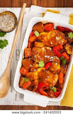 Roasted Chicken Breasts With Potatoes, Carrot And Bell Peppers. Selective Focus.