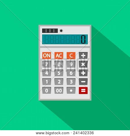 Calculator Icon In Flat Style. Calculator Isolated On A Green Background. Vector Electronic Calculat
