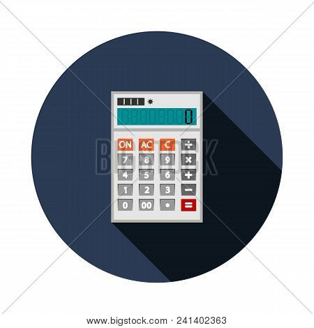 Calculator Icon In Flat Style. Calculator Isolated On A Blue Background. Vector Electronic Calculato