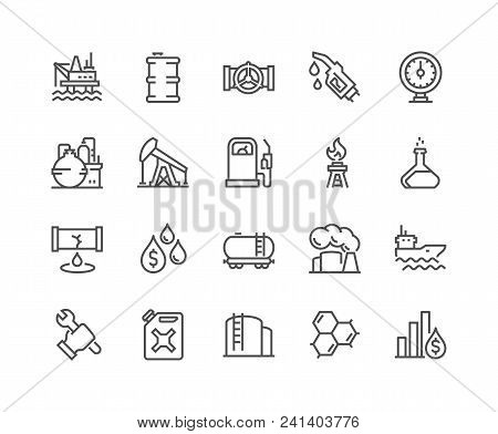 Simple Set Of Oil Related Vector Line Icons. Contains Such Icons As Gas Station, Oil Factory, Transp