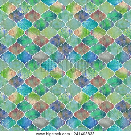 Vintage Decorative Moroccan Seamless Pattern. Watercolor Hand Drawn Green Teal Blue Yellow Endless T