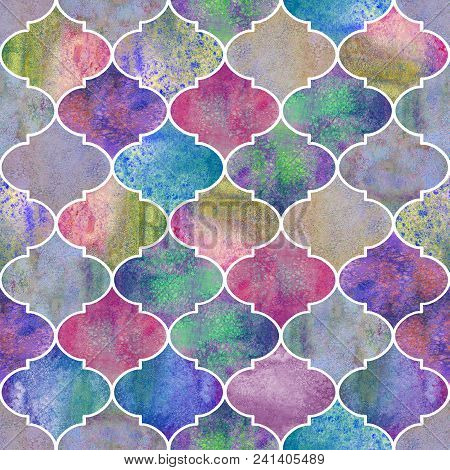 Vintage Decorative Moroccan Seamless Pattern. Watercolor Hand Drawn Colorful Endless Texture Backgro