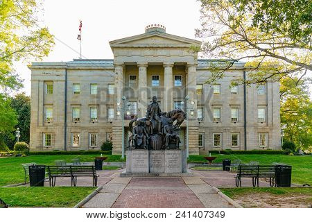 Raleigh, Nc - April 17, 2018: Statue Commemorating Presidents James Polk, Andrew Jackson And Andrew