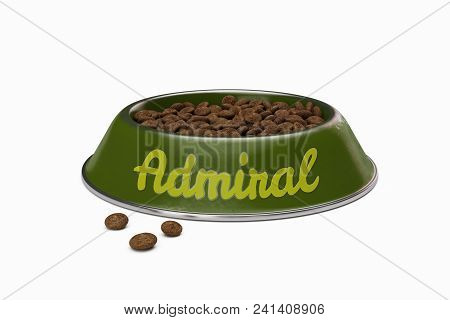 Green Doggy Bowl With Name Admiral Of Dog Isolated On White