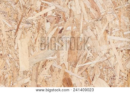 Wooden Board Osb For Background Decoration., Compressed Light Brown Wooden Texture