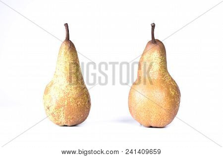 Two Large Pears. Pears In A Row. Pears Are Standing.