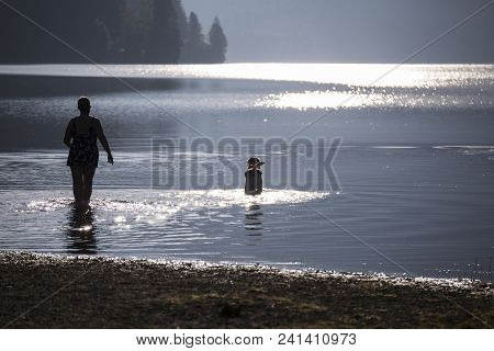 Early Morning On The Mountain Lake. Morning Misty Lake With Sunlight Reflections. Solar Glare On The