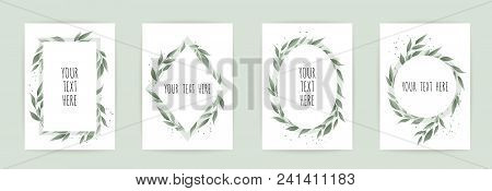 Set Botanic Card With Wild Flowers, Leaves. Floral Poster, Invite. Vector Layout Decorative Greeting