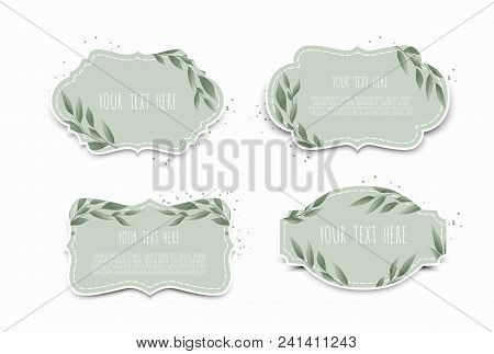 Vector Set. Vintage Labels With Leaves. Frame Border With Copy Space