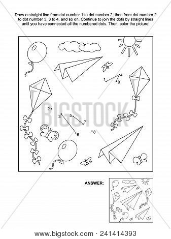 Connect The Dots Picture Puzzle And Coloring Page With Paper Planes, Kites And Balloons Flying In Th