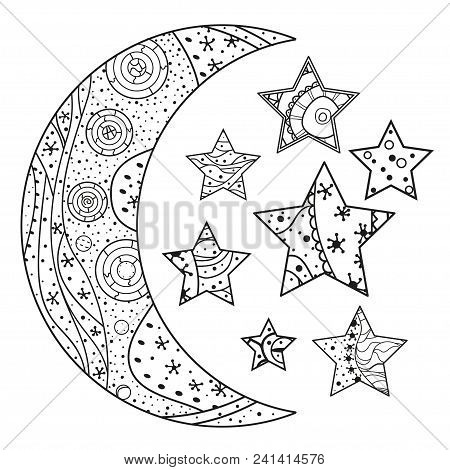 Moon And Star With Abstract Patterns On Isolation Background. Design For Spiritual Relaxation For Ad