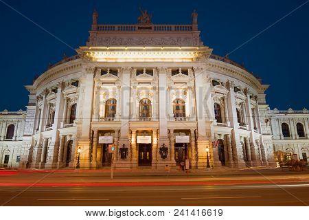 Vienna, Austria - April 25, 2018: Burgtheater Building (royal Palace Theatre) In Night Illumination