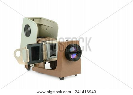 Vintage Filmstrip Projector Isolated On White Background. Old Projector For Displaying Of Slides.