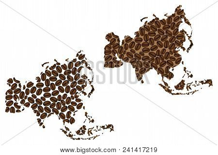 Asia -  Map Of Coffee Bean, Asia Map Made Of Coffee Beans,