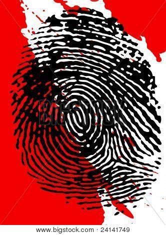 Black fingerprint on a blood splattered background