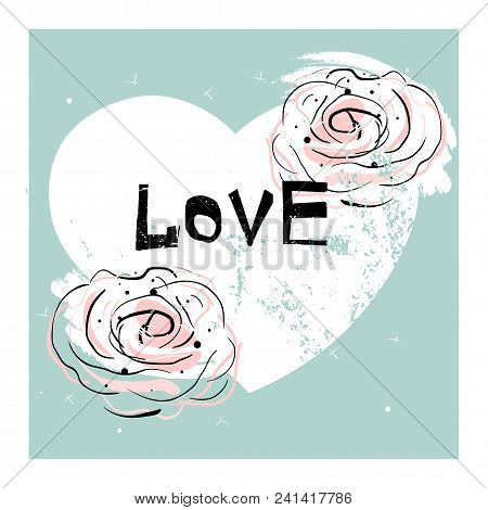 Romantic Love Illustration With Hand Drawn Abstract Doodle Rose Flower On Pastel Worn Heart Shape Ba