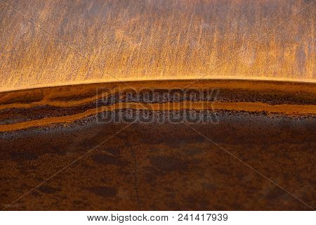 Heavily Rusted Lines On A Sharp Edged Metal Surface