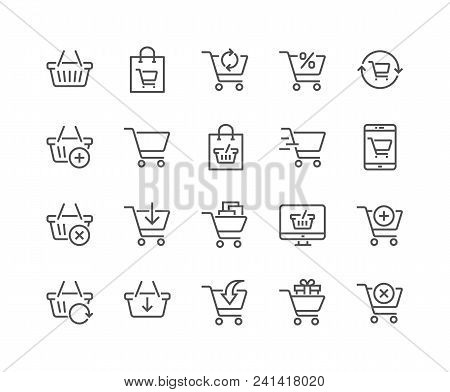 Simple Set Of Shopping Cart Related Vector Line Icons. Contains Such Icons As Express Checkout, Mobi