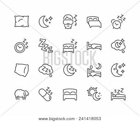 Simple Set Of Sleep Related Vector Line Icons. Contains Such Icons As Insomnia, Pillow, Sleeping Pil