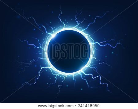 Spectacular Electricity Thunder Shining Spark And Lightning Surround Blue Electric Ball. Power Brigh