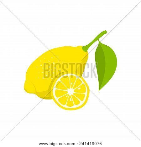 Lemon And Slice Of Lemon On White Background. Lemon Icon. Vector Illustration.