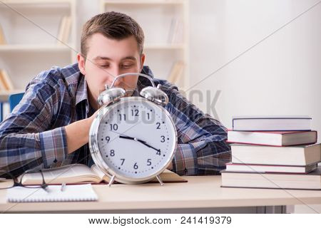 Student getting late with exam preparation