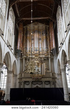 Alkmaar,  Netherlands - April 21, 2017: The Two Organs Inside The Church Of St. Lawrence (grote Kerk