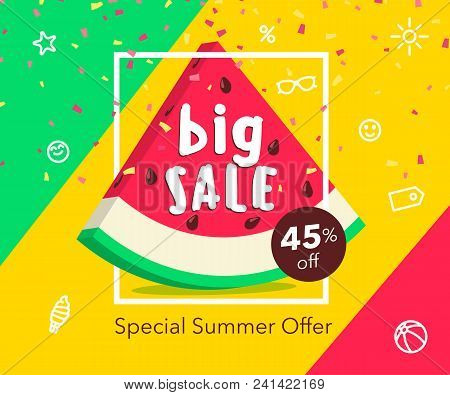 Big Summer Sale Beautiful Web Banner. Cute Watermelon Slice In Frame. Special Summer Offer Advertisi
