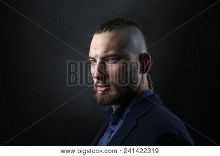 Brutal Man With Dreadlocks, Looks Like A Viking, Iroquois Haircut