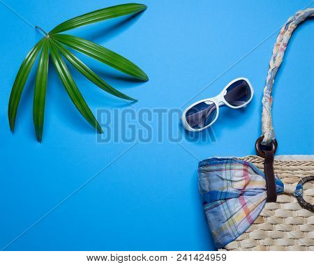 Summer Holiday Background, Beach Accessories On Blue Background, Summer Holiday Banner, Vacation And