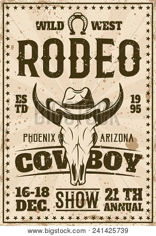 Rodeo Show Advertisement Poster For Event In Retro Style Vector Illustration With Animal Skull In Co