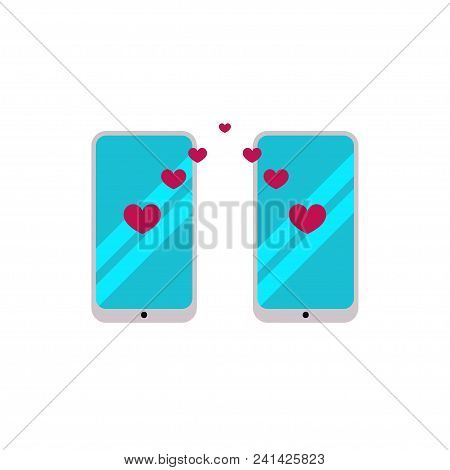 Dating Site, Love Chat, Dating, Two Smartphones With Hearts. Vector Illustration