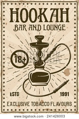 Hookah Bar And Lounge Advertisement Poster For Institution In Retro Style Vector Illustration With A