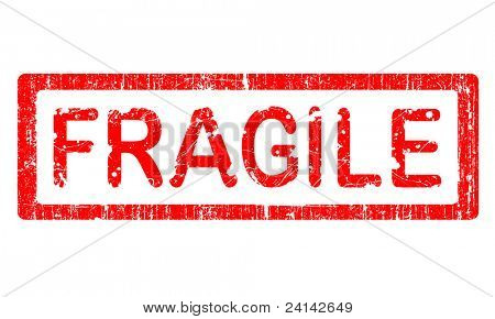 Grunge Office Stamp with the word FRAGILE in a grunge splattered text. (Letters have been uniquely designed and created by hand)