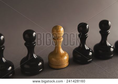 Chess Battle, White Pawn Among Black