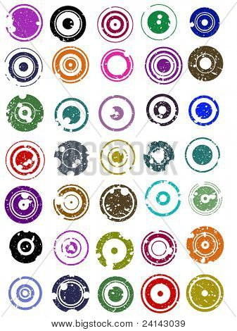 35 splatted Circle Graphic Elements (Circles have transparent centres etc so they can be overlaid on other graphic elements)