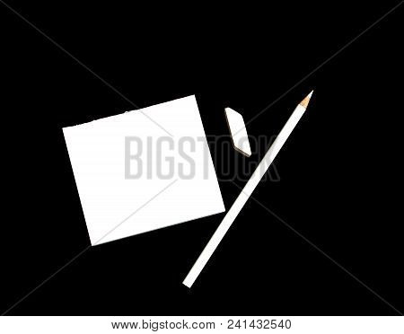 White Blank Notebook With Pencil, Eraser And Tag Paper On Black Background. Business And Instagram C