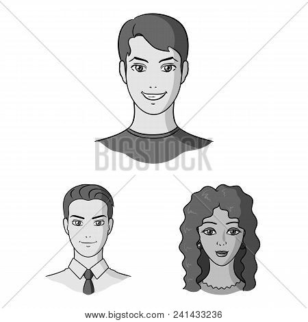 Avatar And Face Monochrome Icons In Set Collection For Design. A Person Appearance Vector Symbol Sto
