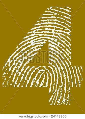 Fingerprint Number - 4 (Highly detailed grunge Number)