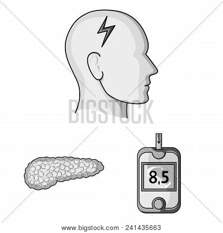 Diabetes Monochrome Icons In Set Collection For Design. Treatment Of Diabetes Vector Symbol Stock  I
