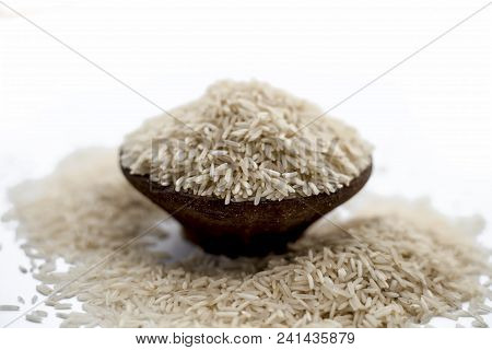 Indian Special Most Popularuncooked Basmati Long Grained With A Unique Aroma In A Clay Bowl Isolated