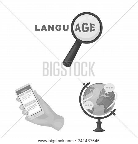 Translator And Linguist Monochrome Icons In Set Collection For Design. Interpreter Vector Symbol Sto