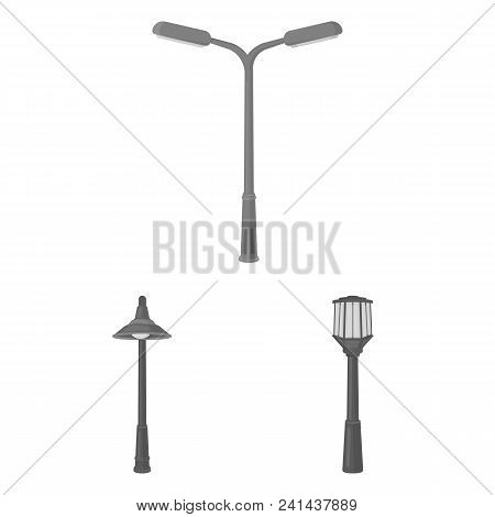 Lamp Post Monochrome Icons In Set Collection For Design. Lantern And Lighting Vector Symbol Stock  I