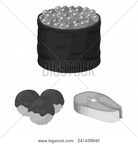 Sushi And Seasoning Monochrome Icons In Set Collection For Design. Seafood Food, Accessory Vector Sy